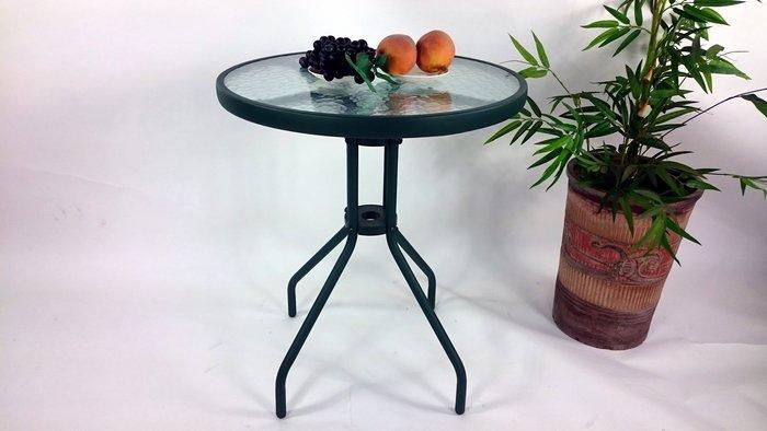[兄弟牌戶外休閒傢俱]60cm玻璃庭院桌-綠色管+5MM安全玻璃~歐式優雅風情~Brother直購免運費!
