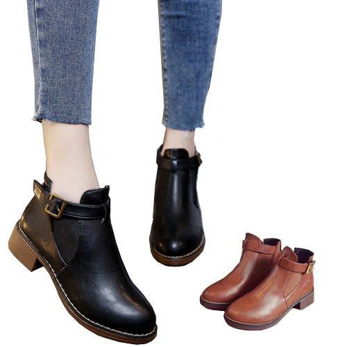 英倫粗跟短靴 短靴 馬丁靴 馬丁 靴子 粗跟靴  英倫風 女短靴 冬天靴子 鬆緊帶靴子 穿脫方便 冬天短靴 206