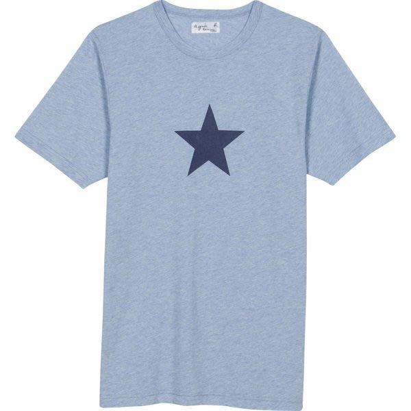 REISEN:FR.真品現貨!agnes b. 男款經典星星LOGO淺藍色短袖T-SHIRT!全新附 agnes b. 購買證明