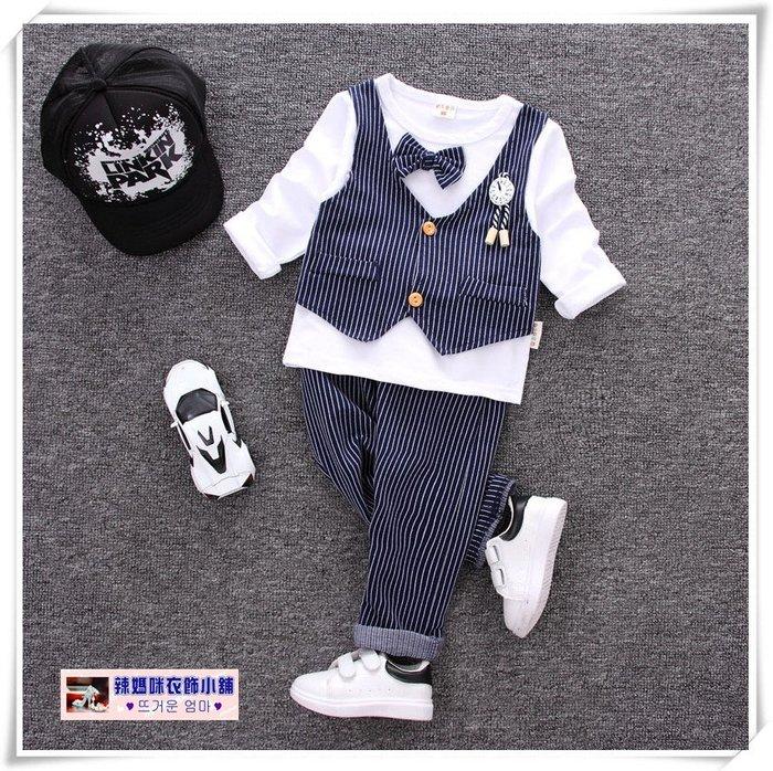 •*~ 辣媽咪衣飾小舖 ~*•❤童裝系列❤V930673韓版小男童帥氣假二件條紋西裝款上衣+長褲二件套套裝