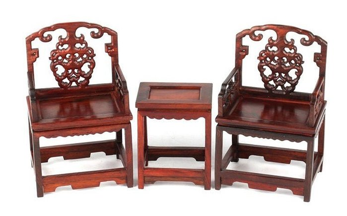 Art in THE 【傑儒書畫】 微型家具 紅酸枝太師椅 仿古明清微型家具 木雕工藝品擺件 送禮贈品 兩椅一桌套裝組