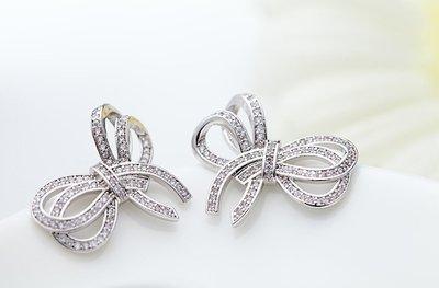 *(直購價非活動價)EOS 時尚精品 美版品牌款蝴蝶結系列CZ鑽石耳環飾 戒婚戒耳環項鍊手鍊腳鍊手鐲紅寶鋯石綠寶藍寶翡翠