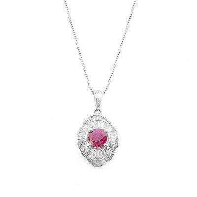 【JHT金宏總珠寶/GIA鑽石專賣】0.97ct天然紅寶鑽墜/材質:18K(R00034)