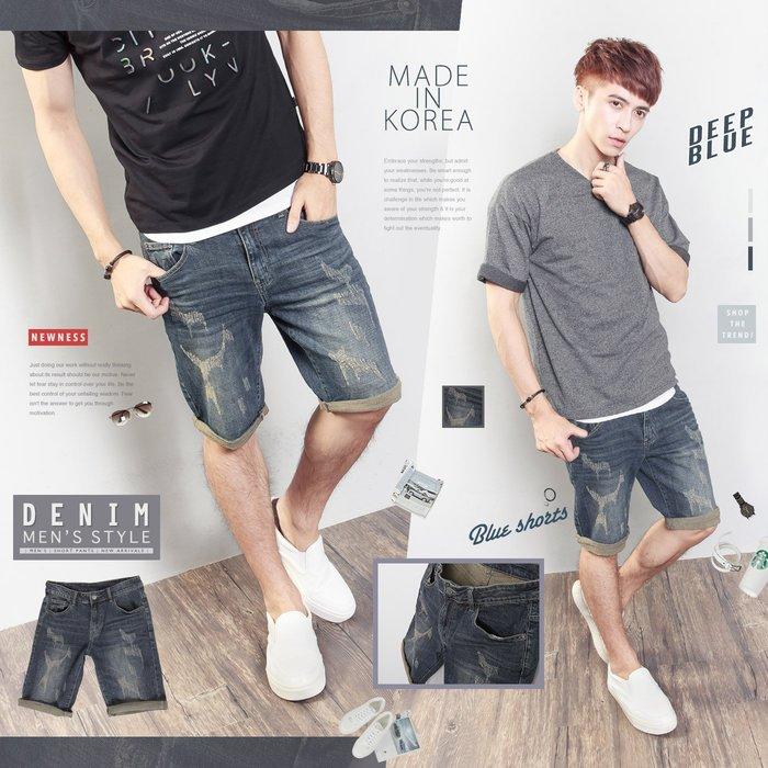 。SW。【K91580】正韓BL 韓國製 修身 古著磨痕感 仿舊藍 彈性單寧布 觸感舒適 窄版 彈性牛仔短褲 GD