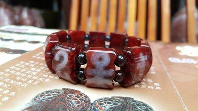 西藏天珠材質圖騰瑪卡石手排 天然純淨老...
