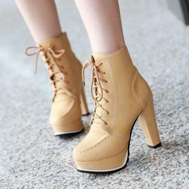 yes99buy加盟-系帶粗跟短筒女靴