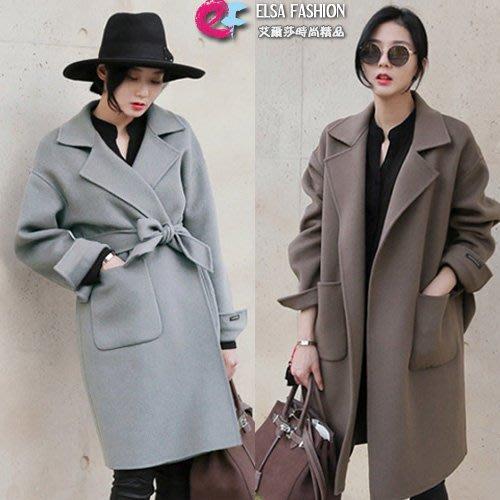 長大衣 俐落綁帶口袋袖開岔毛呢大衣外套 艾爾莎【TAT7521】