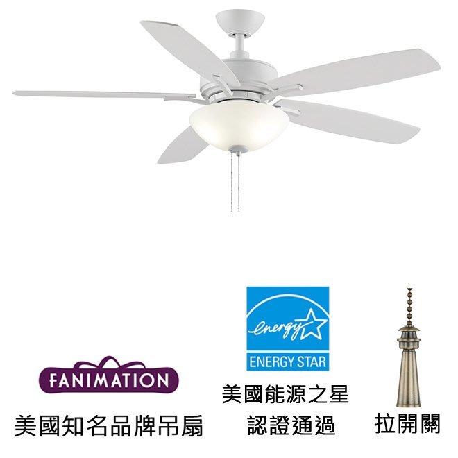 Fanimation Aire Deluxe 52英吋能源之星認證吊扇附LED燈(FP6285BMW)平白色