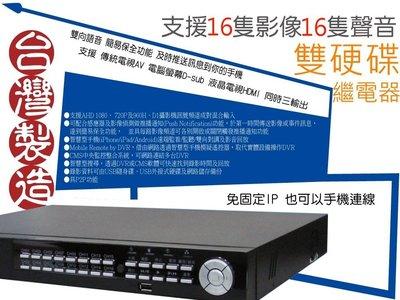 可遠端開電捲門 台灣精品 雙硬碟16路16音 監控主機 內建繼電器 1080P HM-16AD 環名 台中可自取