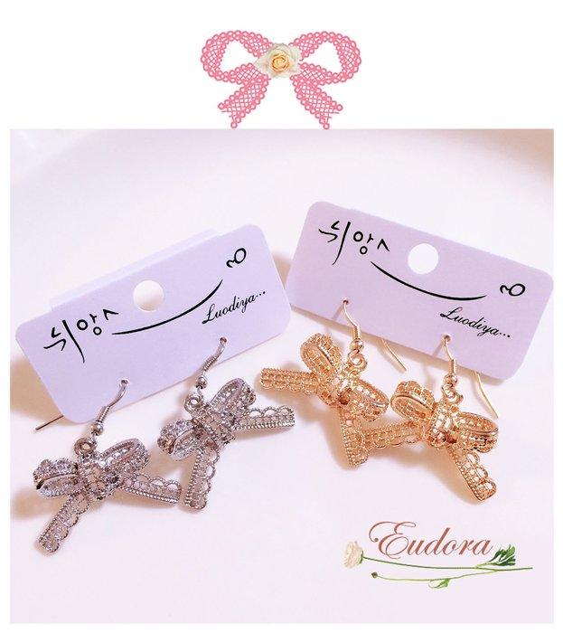 韓國空運  ~甜美金屬蕾絲 蝴蝶結耳環 金色 銀色