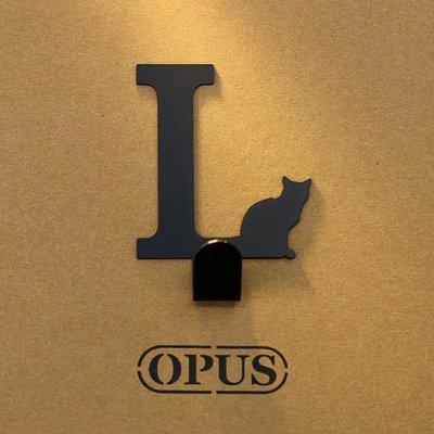 當貓咪遇上字母L 《經典黑》2017聖誕禮物 壁飾掛勾 造型無痕掛鉤 交換禮【OPUS東齊金工】HO-ca10-L(B)