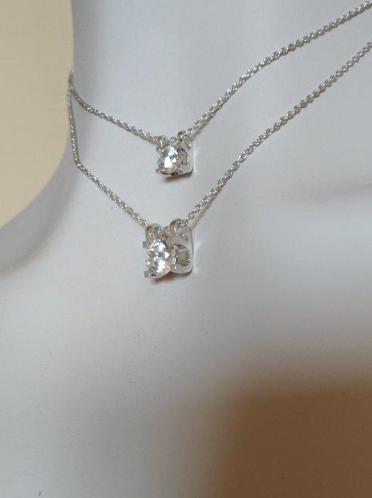 訂做主鑽925純銀鍍鉑金 鑲嵌高碳鑽鑽石雙層項鍊同來圖同款 FOREVER鑽寶
