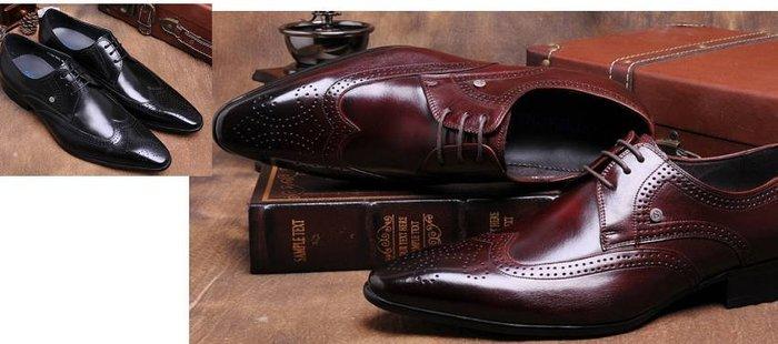 新品英倫雕花布洛克鞋男士正裝商務皮鞋男真皮尖頭系帶婚宴皮鞋