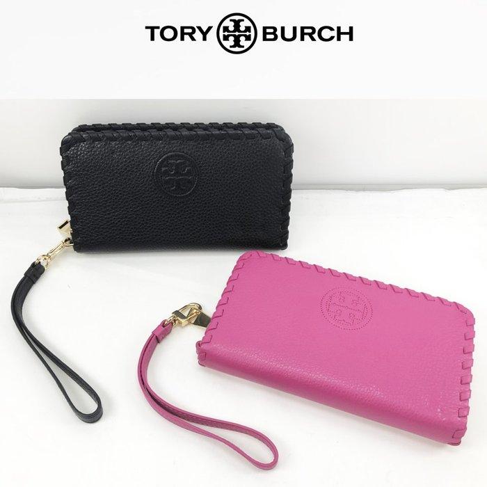 Tory Burch(TB)專櫃壓印logo手拿包中夾長夾頂級荔枝壓紋真皮/鑰匙手機包/證件零錢↗小夫妻精品嚴選↖