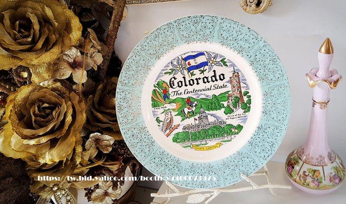 妍媽咪ㄉ西洋古董~ 美國 科羅拉多 紀念瓷盤~ Vintage 復古 珠寶