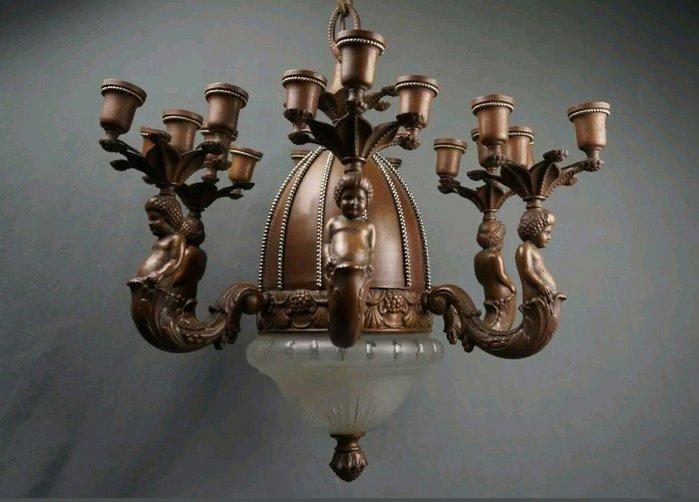 【波賽頓-歐洲古董拍賣】歐洲/西洋古董 法國古董 拿破崙三世風格 銅雕天使吊燈/燭台E14x18+ E27x2燭台燈