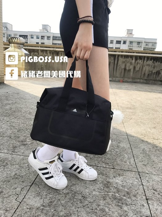 【豬豬老闆】Adidas Logo Bag 黑 白 小Logo 托特包 側背包 旅行包 兩