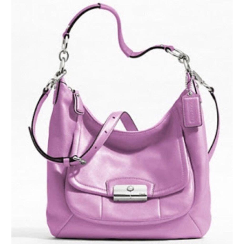 COACH KRISTIN 薰衣草紫 真皮肩背包 斜背包 兩用包