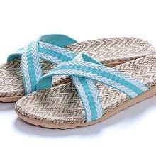 ,就愛夾腳拖!天然亞麻竹炭室內室外拖鞋,吸汗透氣 - 女款,X淡藍,35