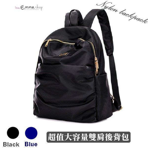 EmmaShop艾購物-韓國連線-現貨時尚美背防水尼龍後背包/黑金色金屬/非真皮水桶包大空氣包旅行背包黑色包包