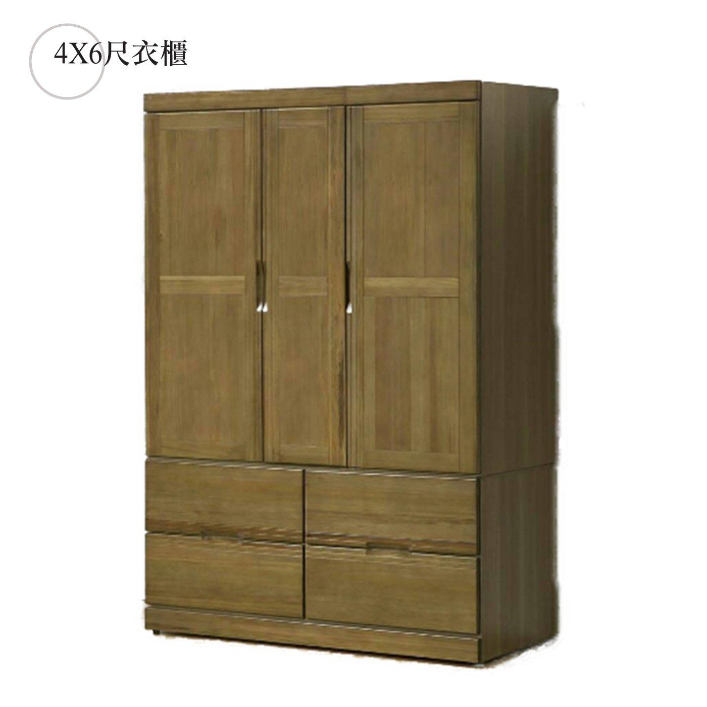 【在地人傢俱】歐瑞思皇家柚木半實木4X6尺四抽衣櫃/衣櫥