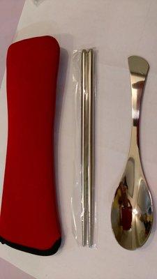 環保餐具兩件組 (筷子+湯匙+潛水布套) 便攜型餐具 外食族餐具 不鏽鋼餐具餐具組合 餐具