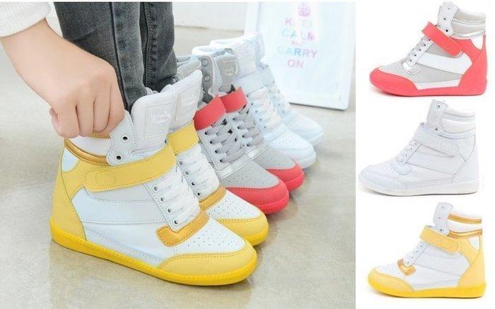 GOGO SHOP♥ GT0020 ♥╭☆韓版超人氣蓬蓬鞋舌心機內增高休閒鞋 魔鬼氈球鞋短靴高筒鞋 增高鞋 帆布鞋運動鞋