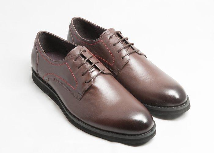 超值系列素面休閒德比鞋:手工上色小牛皮真皮皮鞋男鞋-咖啡色-免運費-[LMdH直營線上商店]E2A21-89