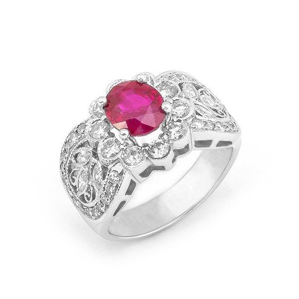 【JHT金宏總珠寶/GIA鑽石專賣】1.95ct天然紅寶鑽戒/材質:18K(R00011)