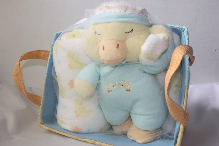 【PICCOLO BAMBINO 美國品牌】全新正品 鴨鴨+ 柔舒毯+提籃 嬰兒被 禮盒 彌月禮 【0~3歲】白毯+藍鴨
