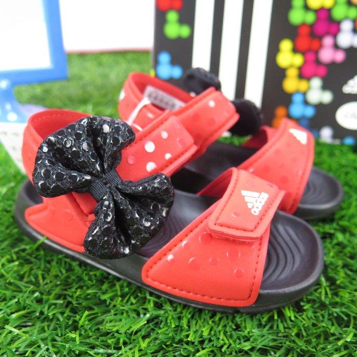 iSport愛運動 adidas 聯名米妮 蝴蝶結 魔鬼氈 涼鞋 CQ0108 小童鞋 DY M&M ALTASWIM