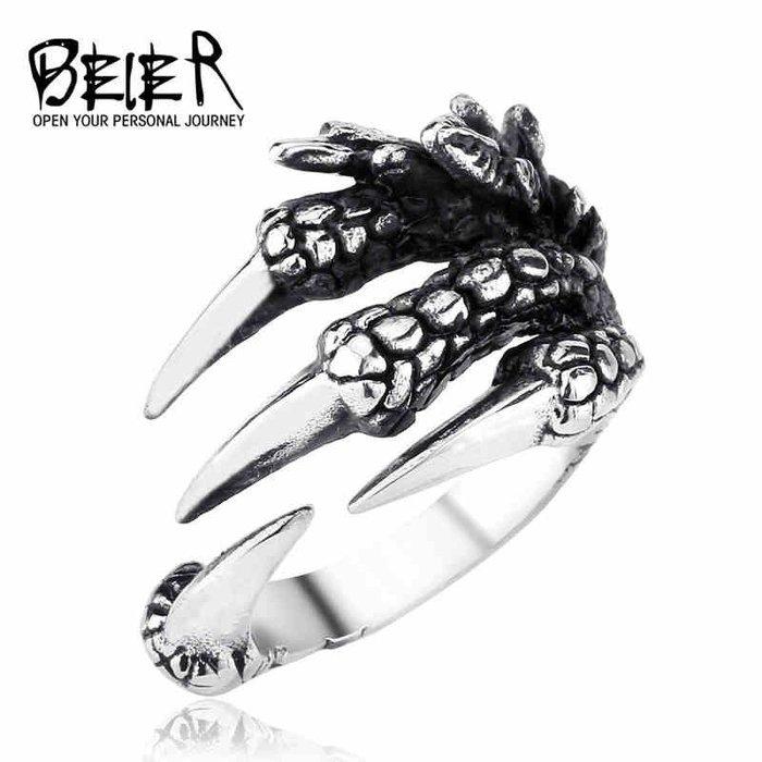 【多幸運】鈦鋼指環男士戒指霸氣開口可調節大小龍爪小指尾戒 潮男配飾品