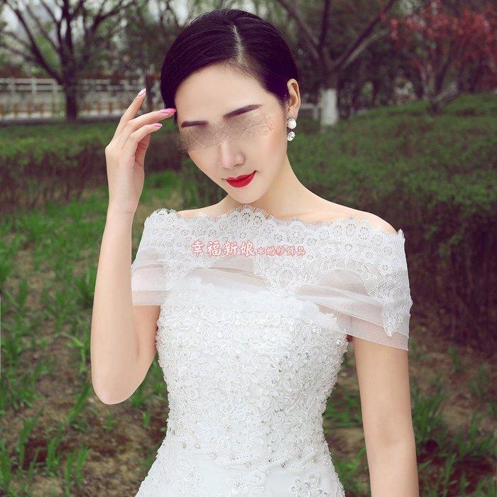優雅一字肩 薄紗貼蕾絲上端流蘇邊背面交叉綁帶禮服披肩小外套 婚紗禮服小罩衫 390 拖尾蝴