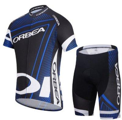 新款Orbea黑蓝骑行服短袖套装排汗透气单车衫 骑行装备 山地單車越野騎士服 運動短袖T恤緊身上衣+褲子自行車單車服