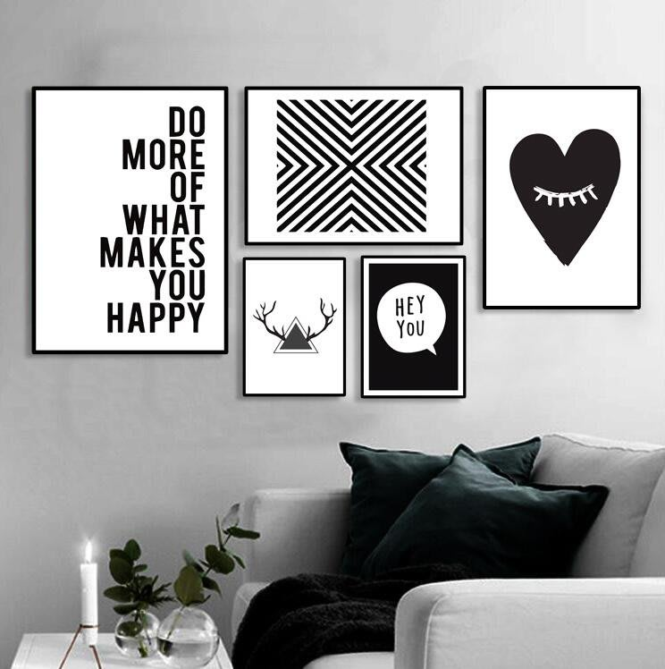 北歐風黑白簡約背景牆裝飾畫客廳玄關抽象掛畫臥室餐廳壁畫字母(多款可選)