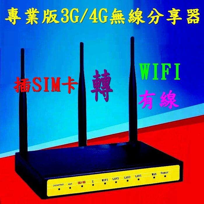 插Sim卡 三頻道通吃 非市面雙頻機 3G/4G行動網路轉有線網路 有線網路轉無線網路 無線網路轉有線網路 支援5大電信