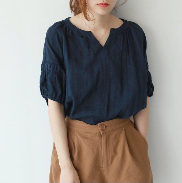 短袖上衣 (LZQ0713-1) 韓純色甜美V領寬鬆上衣 襯衫 T恤 中大尺碼 可搭配牛仔褲/短褲/裙子
