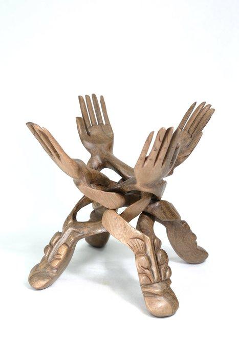 《博古珍藏》天然原木.雞翅木雕佛手木架.1.2公斤.可收合.非黃花梨紫檀香酸枝木金絲楠木.超值回饋