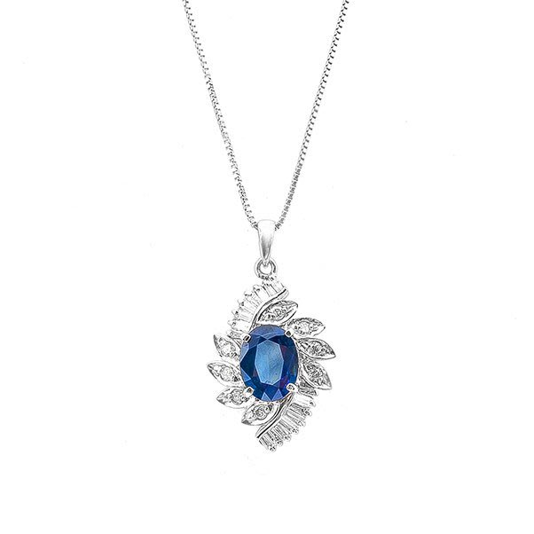 【JHT 金宏總珠寶/GIA鑽石專賣】2.45天然藍寶鑽石項鍊/材質:PT900/附證書(JB33-A07)