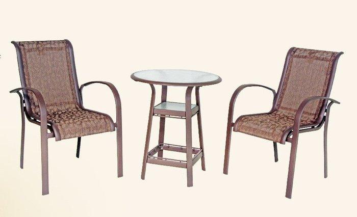 【加百列庭園休閒傢俱】歐式休閒戶外桌椅~半鋁製中背紗網椅~可搭配各式庭園桌使用~居家庭園戶外休閒餐廳~陽台咖啡品茗必備!