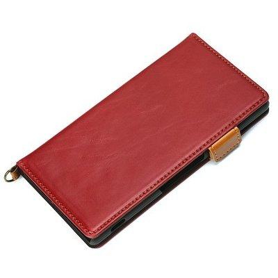 尼德斯Nydus~* 日本正版 PU合成皮 卡片內層 磁扣式 皮套 翻頁式 手機殼 Sony Z3+ Z4 -紅