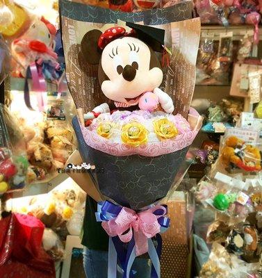 台南卡拉貓專賣店 迪士尼 米妮主題花束 直立式花束 金莎花束 情人節送禮 求婚 畢業 生日 可繡字 可明天到