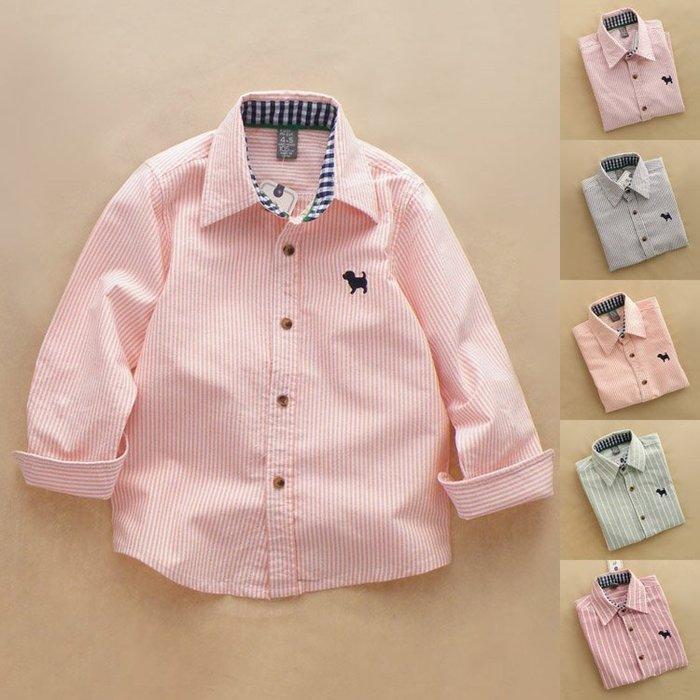 *小屁孩童裝* 外貿條紋純棉襯衫(3色)