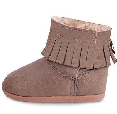 【HELLA 媽咪寶貝】英國 shooshoos 健康無毒真皮手工學步鞋/童鞋_大地色流蘇靴(公司貨)