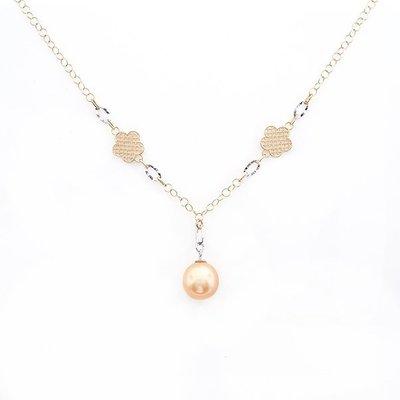 【JHT金宏總珠寶/GIA鑽石專賣】11.5-12MM天然黃金珠項鍊/材質:14K(PP00001)