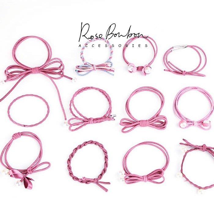 Rose Bonbon韓國髮飾正韓12件盒裝手工蝴蝶節珍珠髮圈髮束橡皮筋彈力繩甜美香風清新花朵新娘髮飾馬尾綁髮HA31