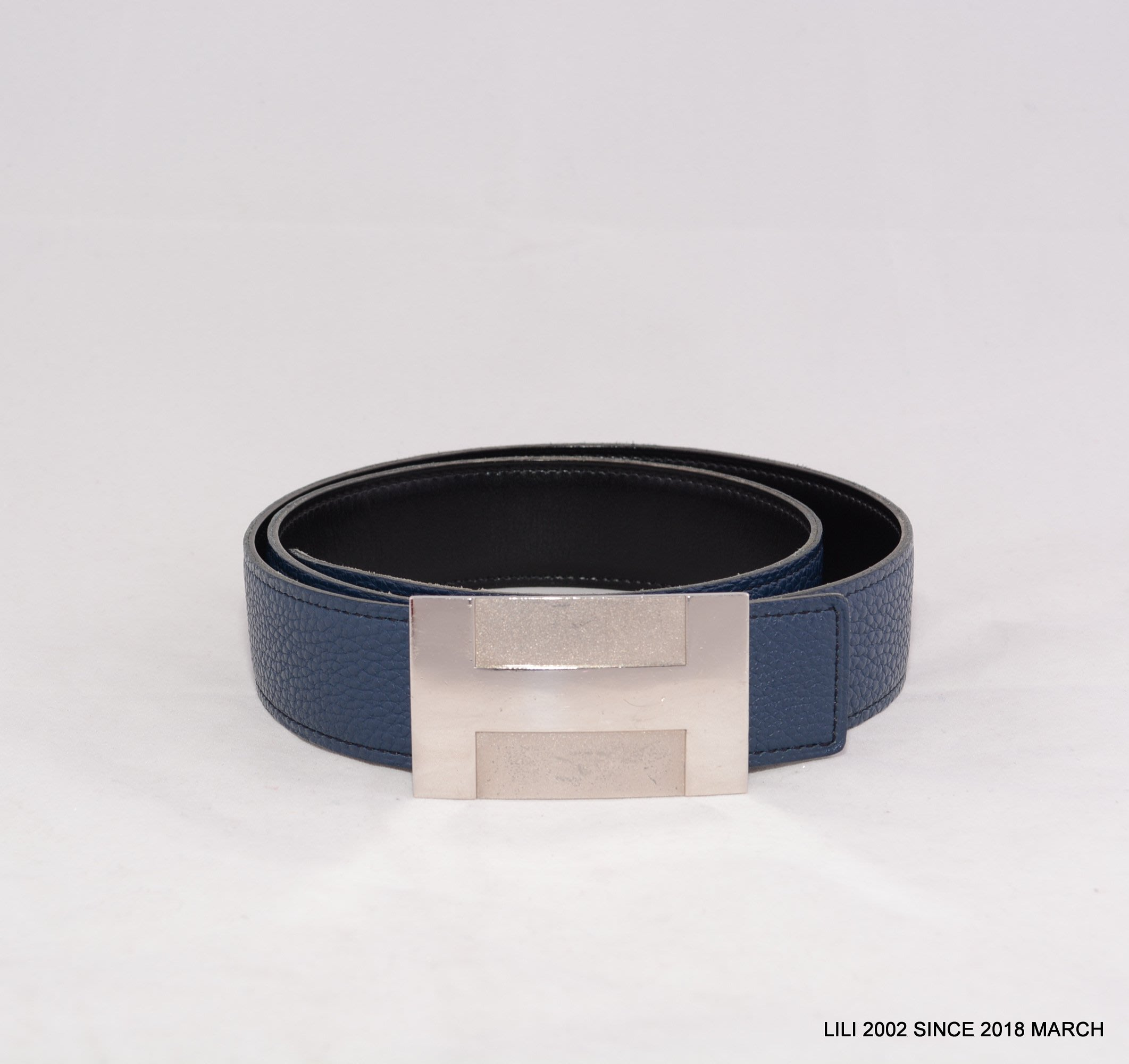 [LiLi二手精品] 真品 HERMES 銀色H頭藍色皮帶~ 9成新