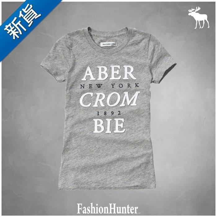 新貨【FH.cc】A&F 短袖T恤 Embroidered Logo Tee 灰 刺繡貼布Logo HCO
