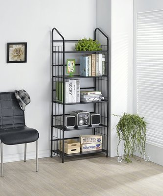 椅的世界 黑平光五層書桌架/書架、簡約、置物架、層架、耐重【12725BM】