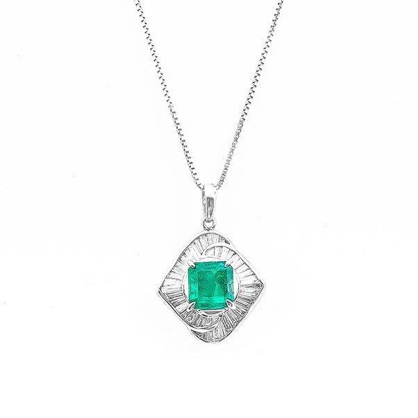 【JHT金宏總珠寶/GIA鑽石專賣】1.45ct天然祖母綠鑽石項鍊/材質:PT900(JB19-B31)